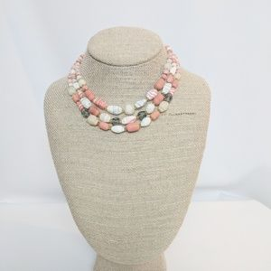 Vintage Natural Stone 3 Strand Necklace Coral Tone